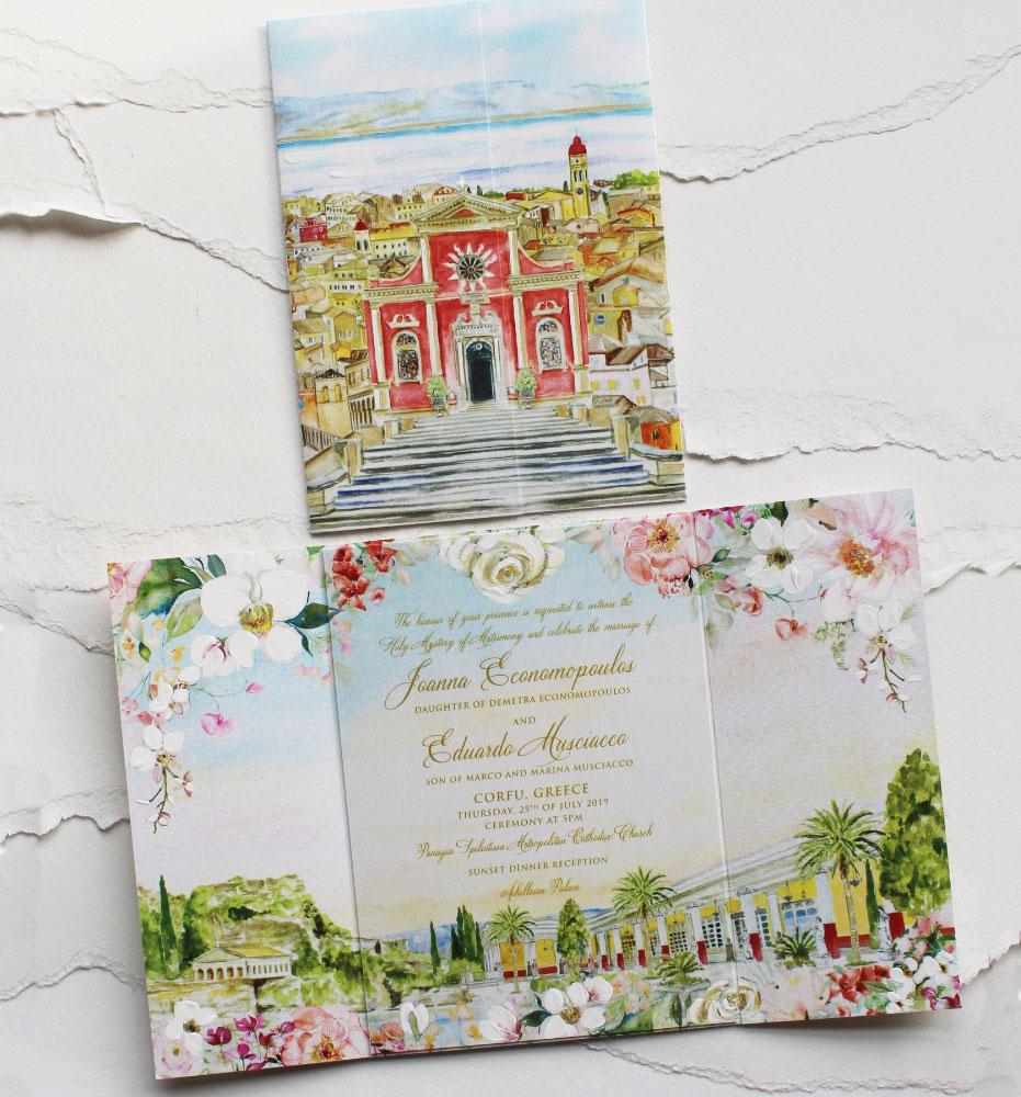 Corfu Greece Wedding Invitations