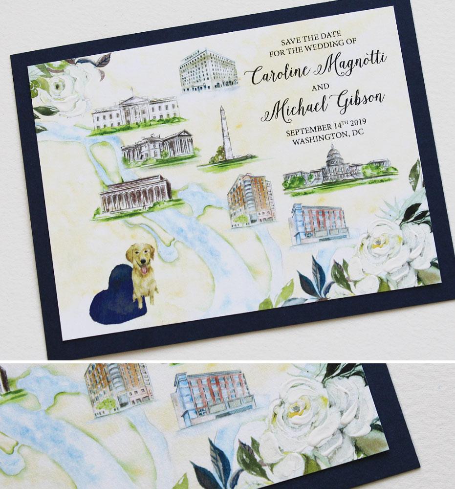 Custom Map Wedding Save the Dates