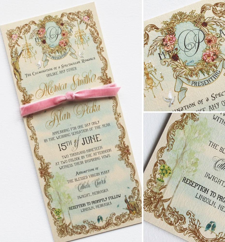 Gilded Frame Wedding Invitations