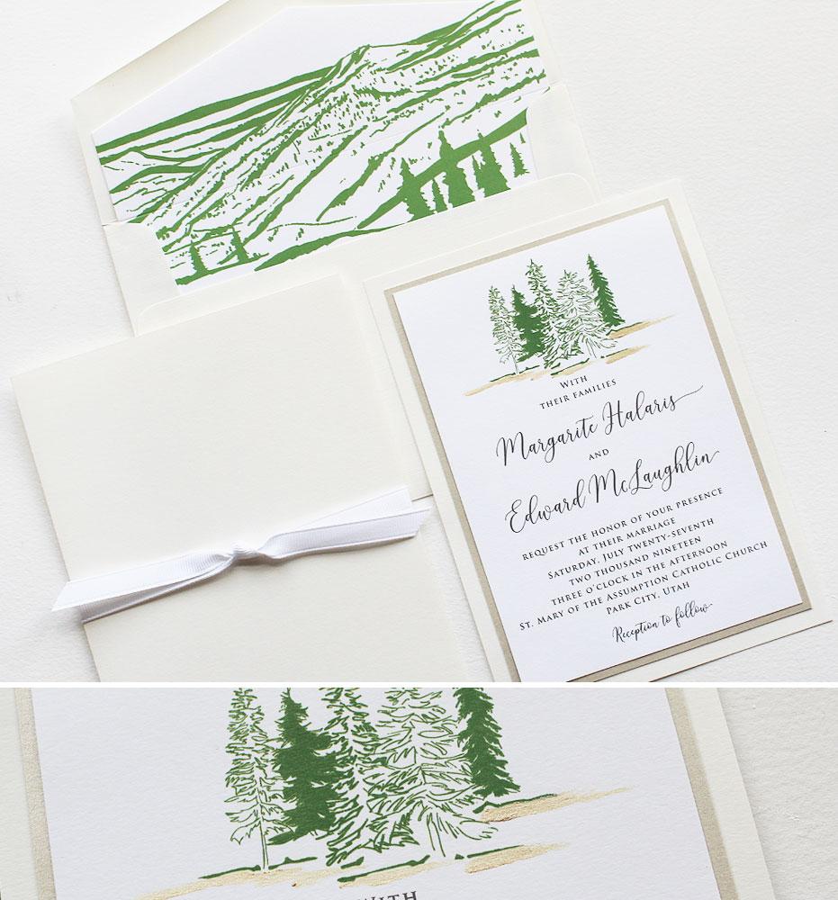 Pine Tree Wedding Invitations