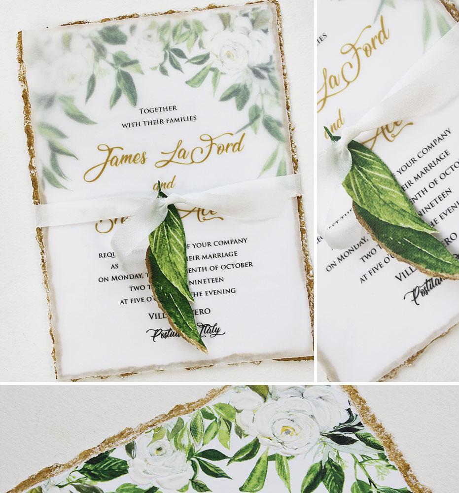 Rustic Floral Italian Wedding Invitations
