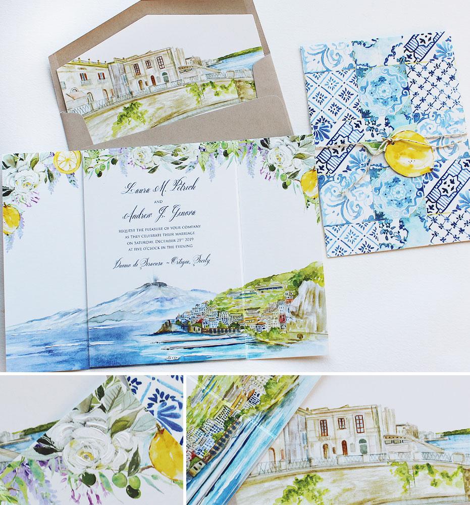 Watercolor Floral and Landscape Wedding Invitation