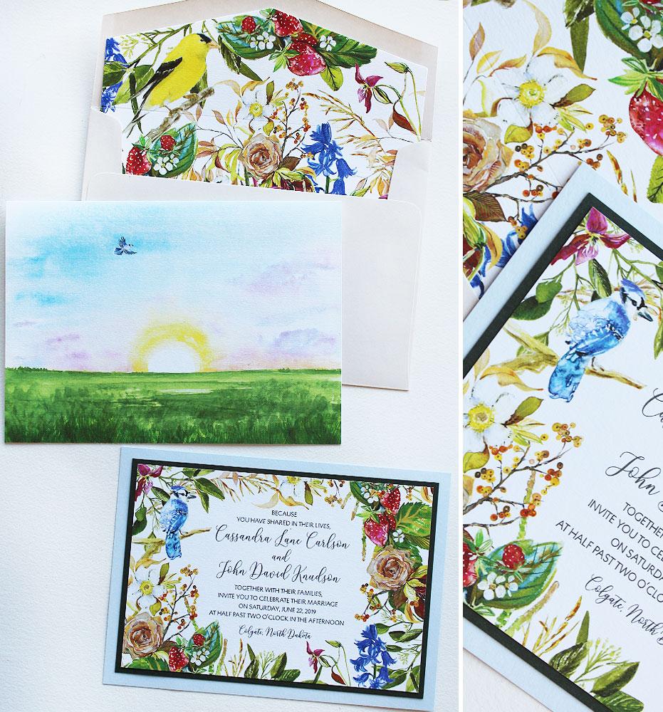 Watercolor Floral Botanical Wedding Invitations