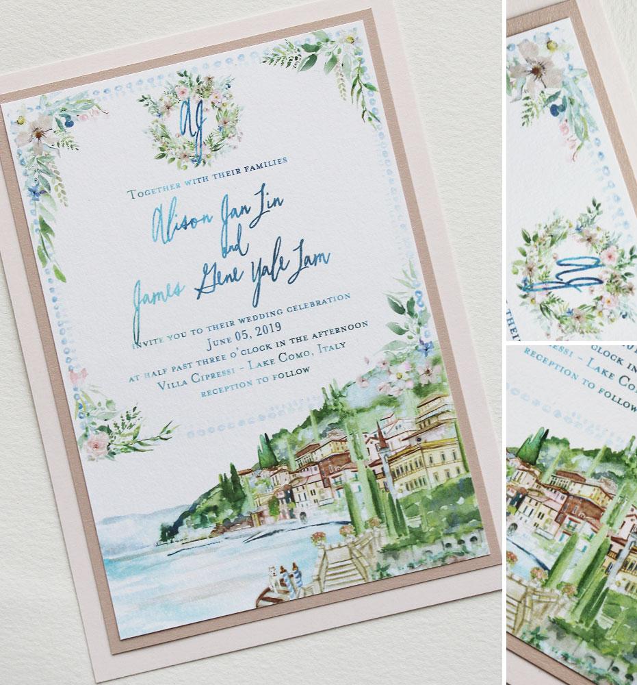 Watercolor Monogram Lake Como Wedding Invitations