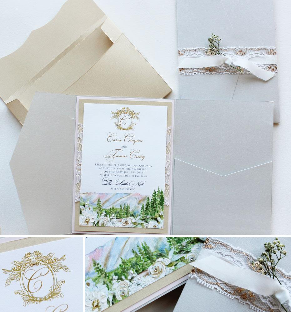 Watercolor Mountain Landscape Wedding Invitations