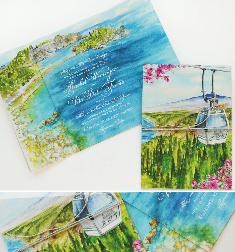 Watercolor Sicily Landscape Wedding Invitations