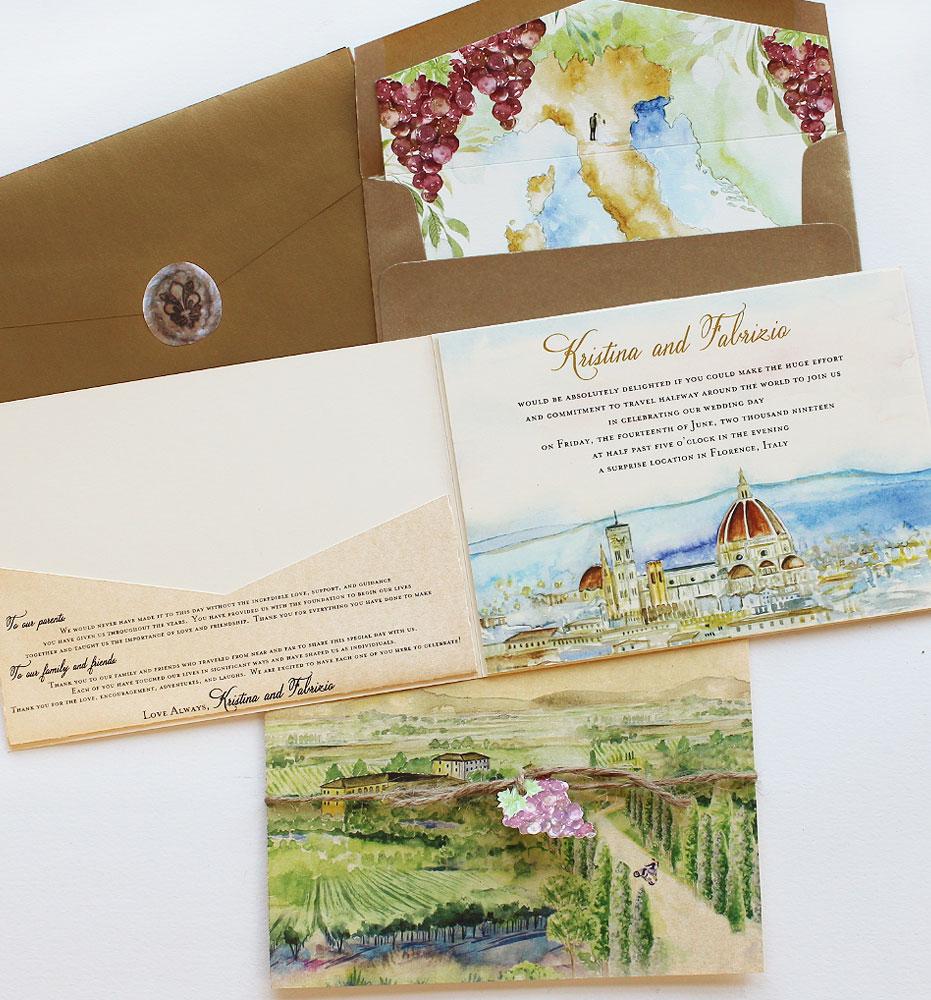 Watercolor Tuscany Landscape Wedding Invitations