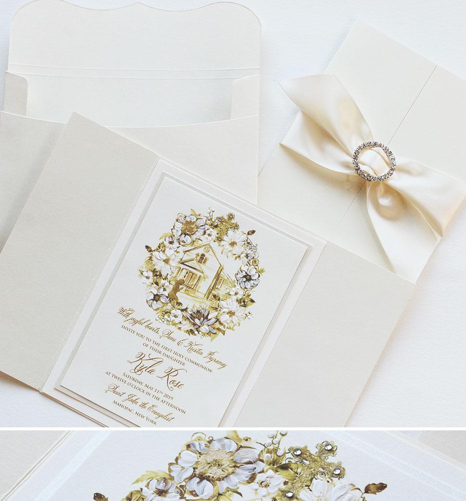 Watercolor Wreath First Communion Wedding Invitations