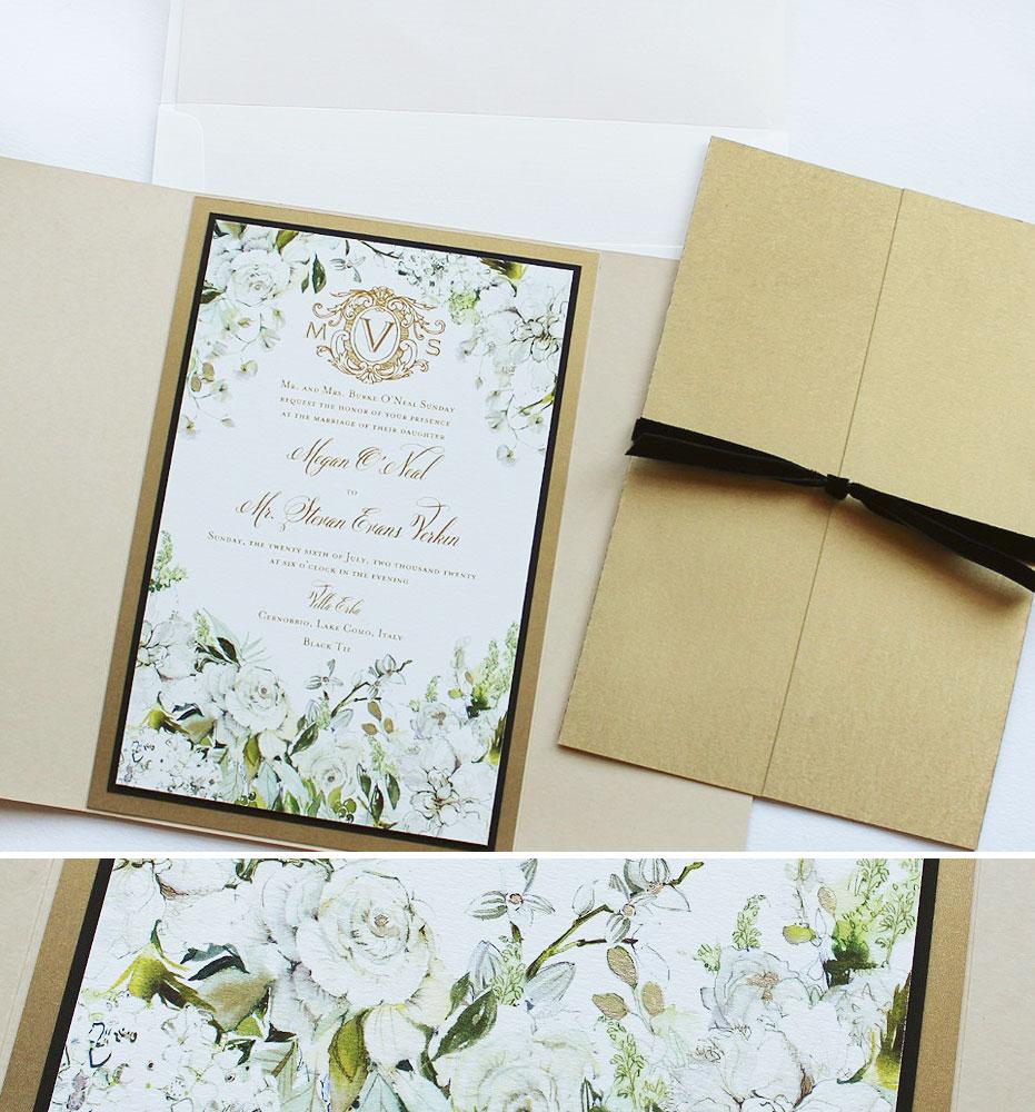 White Floral and Monogram Wedding Invitations