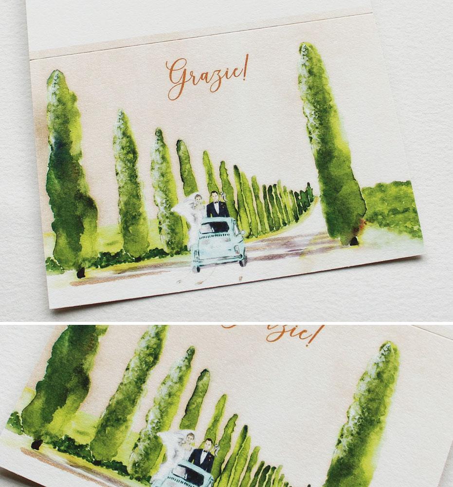 Custom Illustrated Wedding Thank you Notes