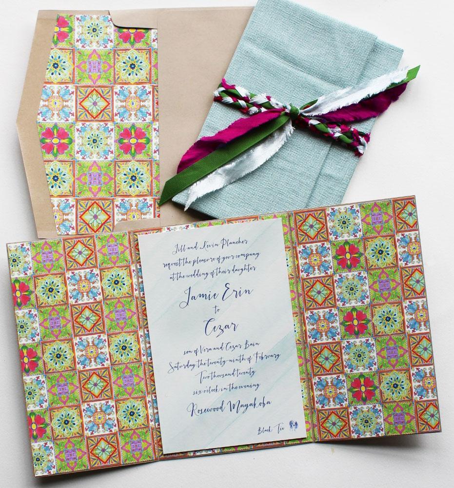 Mexican Tile Wedding Invitation