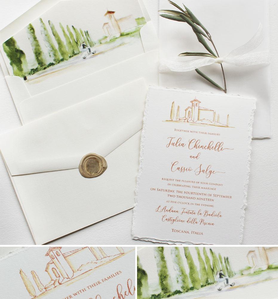 Rustic Tuscan Wedding Invitations