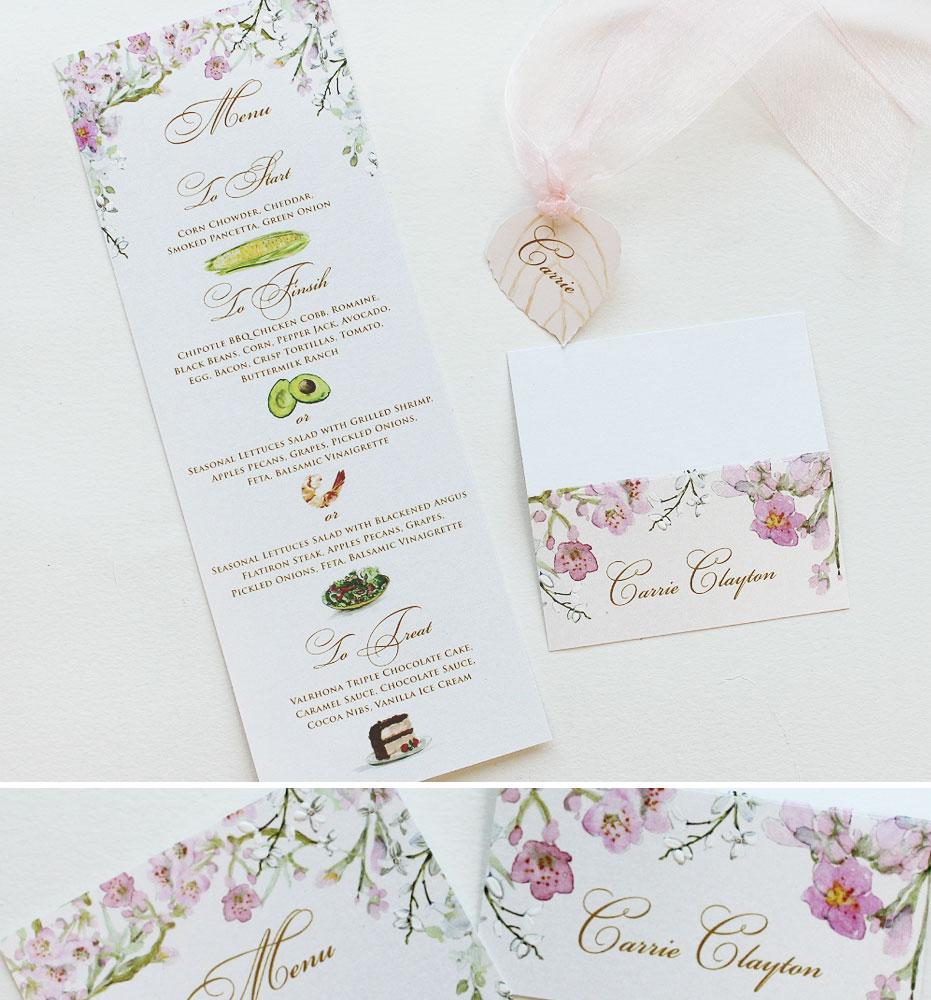Watercolor Cherry Blossom Wedding Stationery