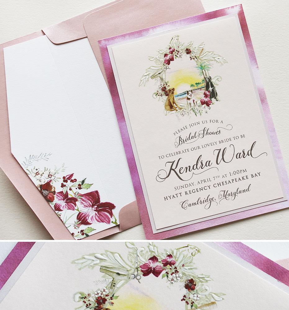Watercolor Crest Bridal Shower Invitations