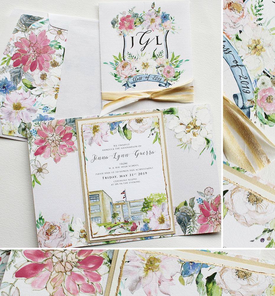 Watercolor Floral Graduation Announcements