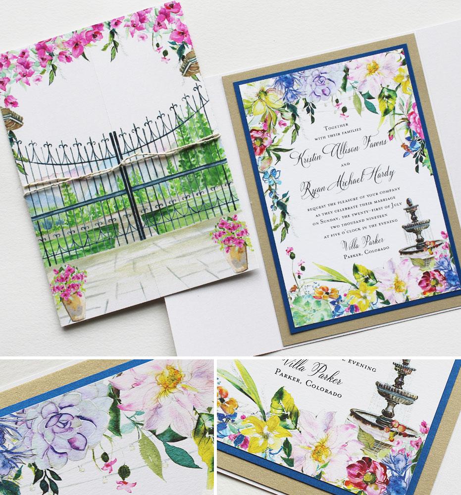 Watercolor Floral Summer Wedding Invitations