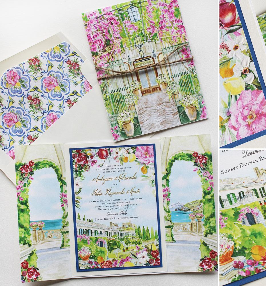 Watercolor Sicily Wedding Invitations