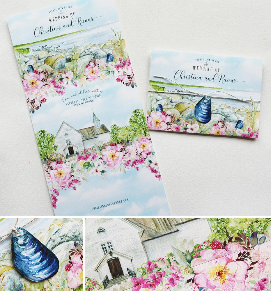 Watercolor Trifold Landscape Wedding Invitations