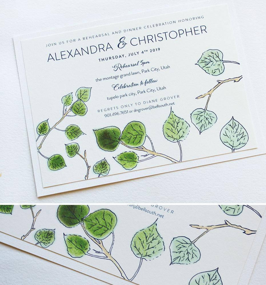 Aspen Leaf Wedding Stationery