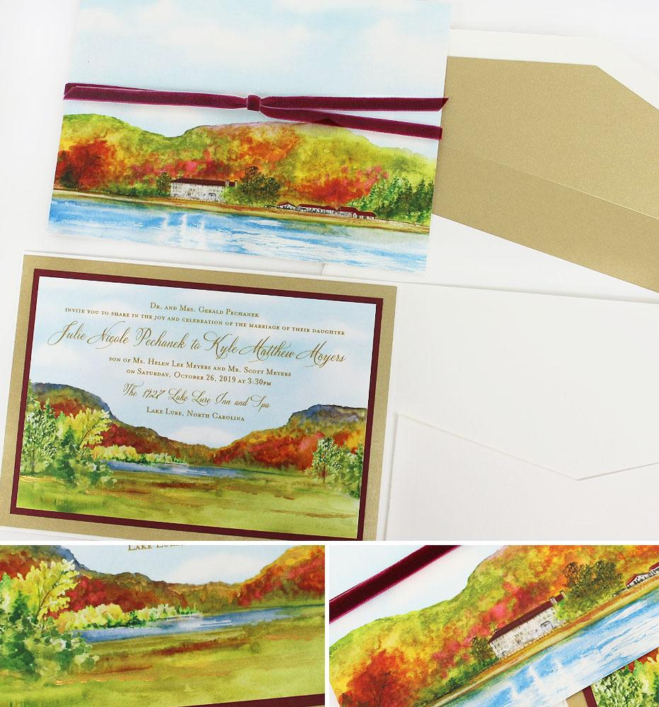 Autumn Watercolor Landscape Wedding Invitations