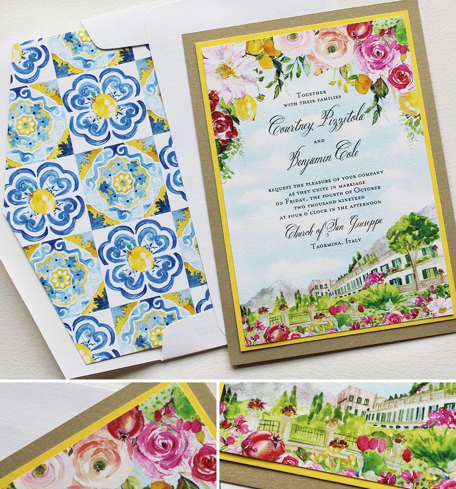Bright Floral Sicily Wedding Invitations