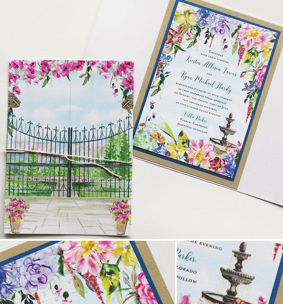 Bright Watercolor Floral Wedding Invitations