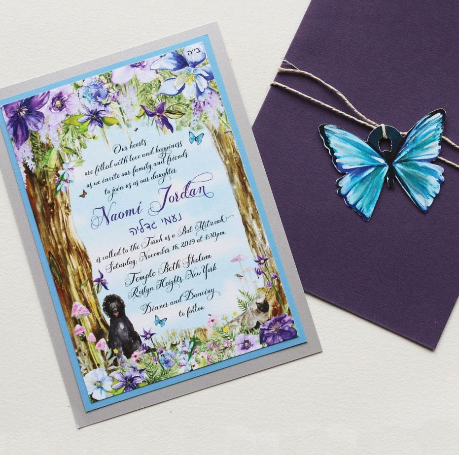 Purple Floral Bat Mitzvah Invitations