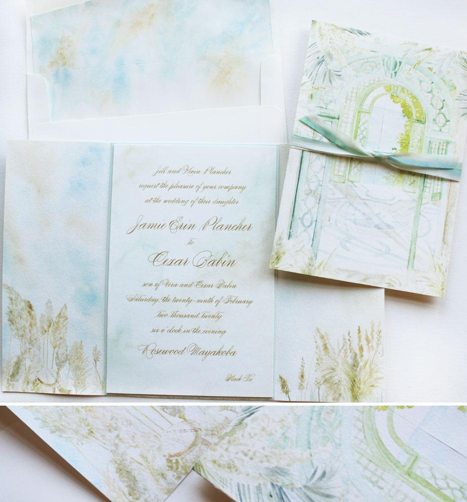 Soft Watercolor Beachy Wedding Invitations