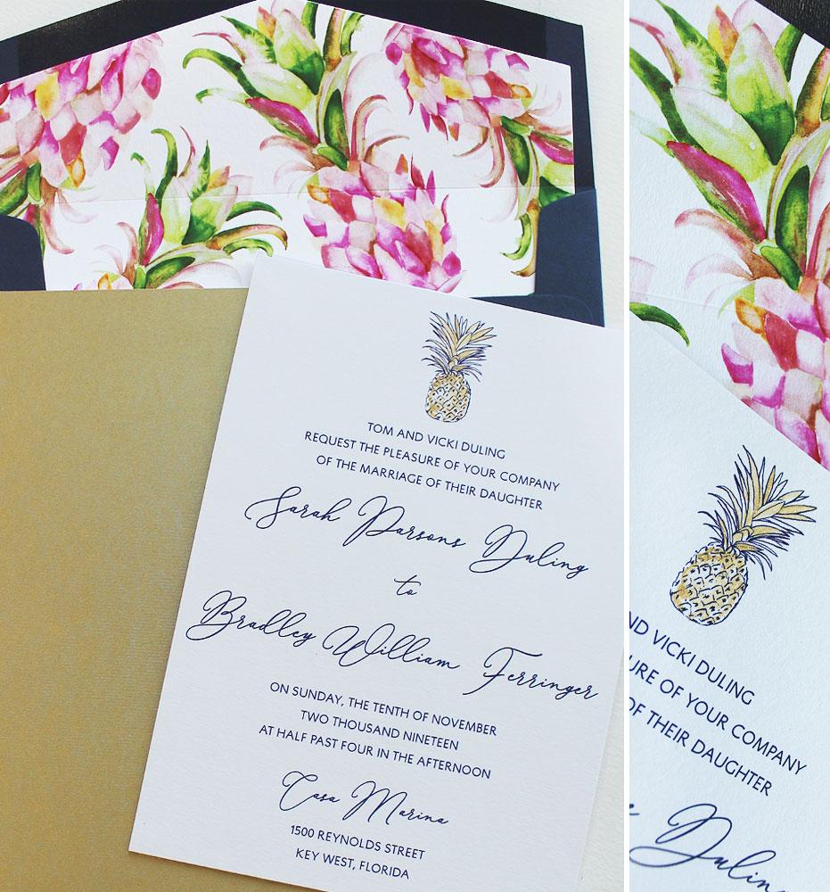 Tropical Pineapple Wedding Invitations