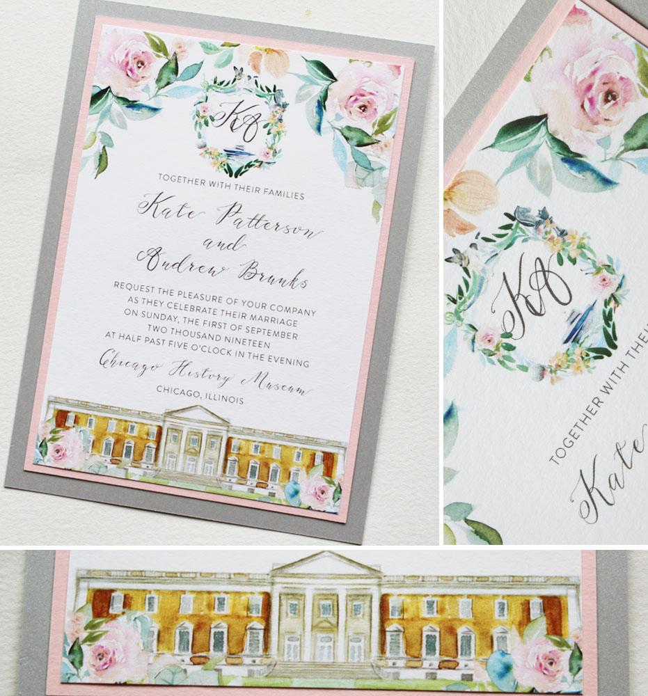 Watercolor Crest Wedding Invitations