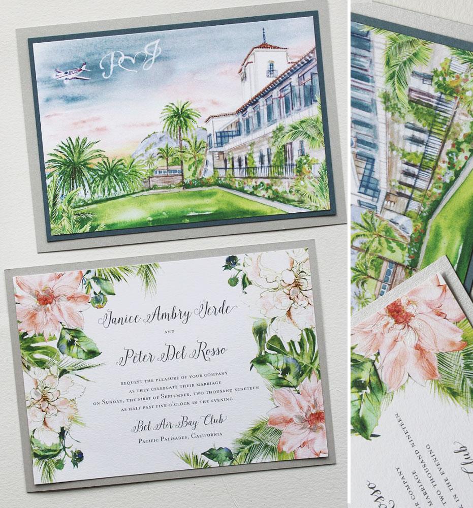 Watercolor Dahlia Wedding Invitations