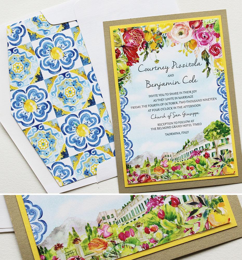 Watercolor Floral Italy Wedding Invitations