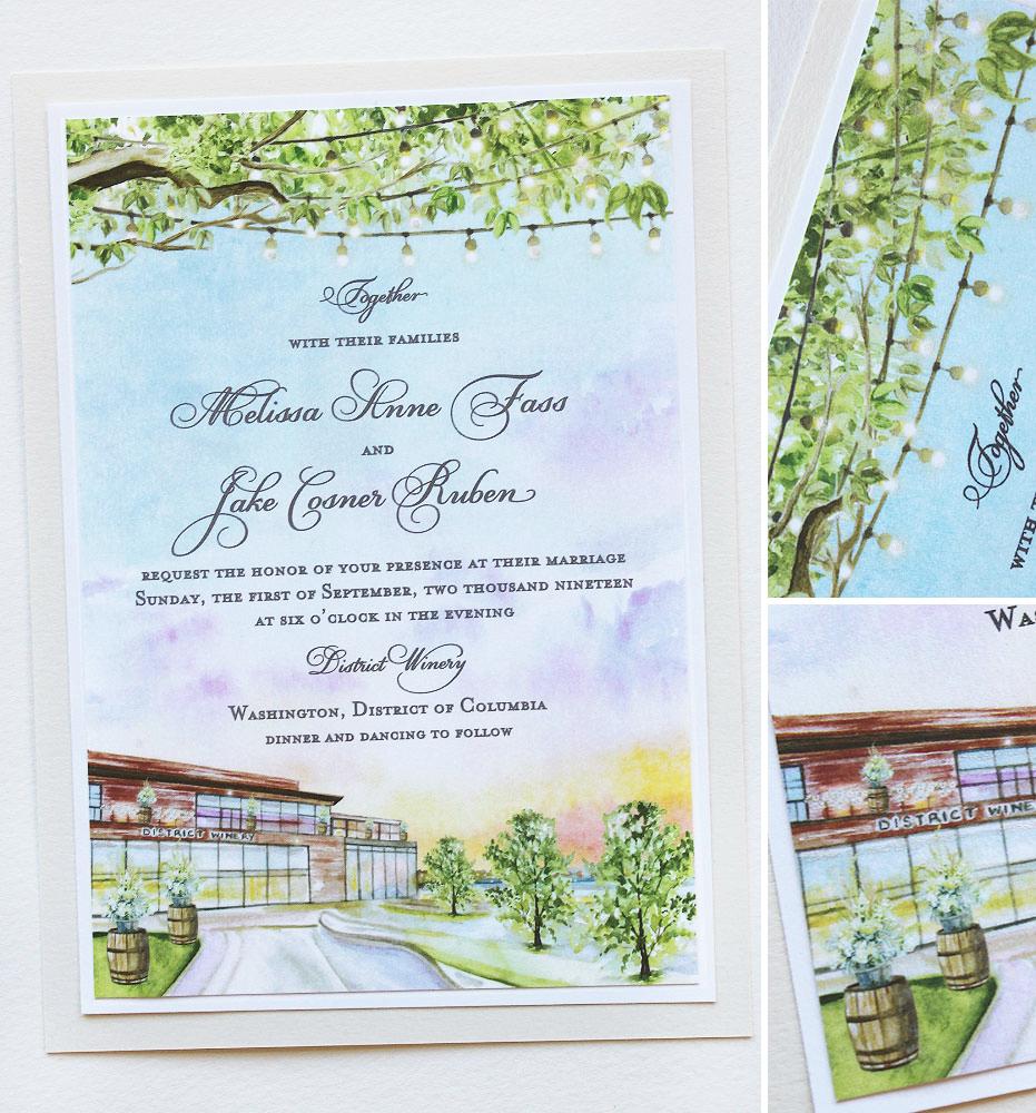 Watercolor Winery Wedding Invitations