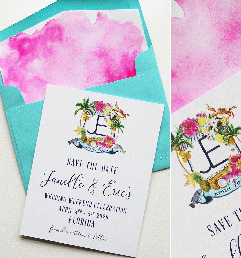 Custom Illustrated Wedding Crest Save the Dates