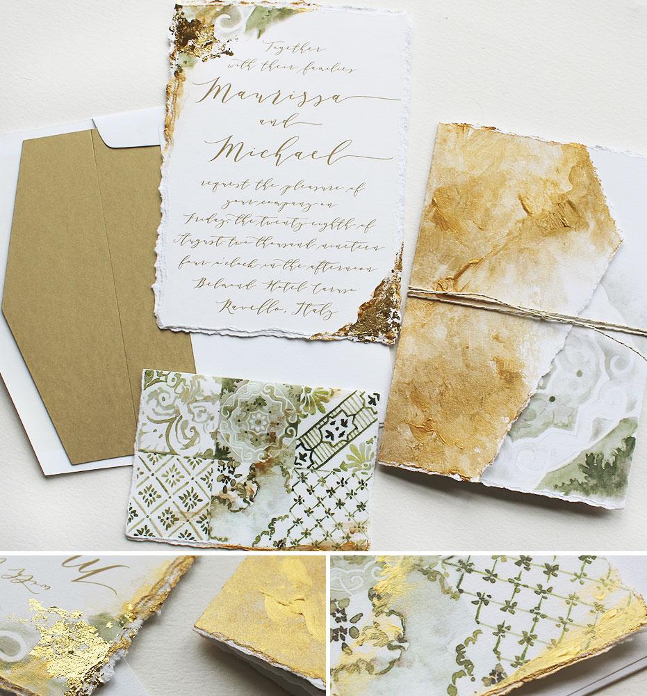 Italian Tile Inspired Wedding Invitations