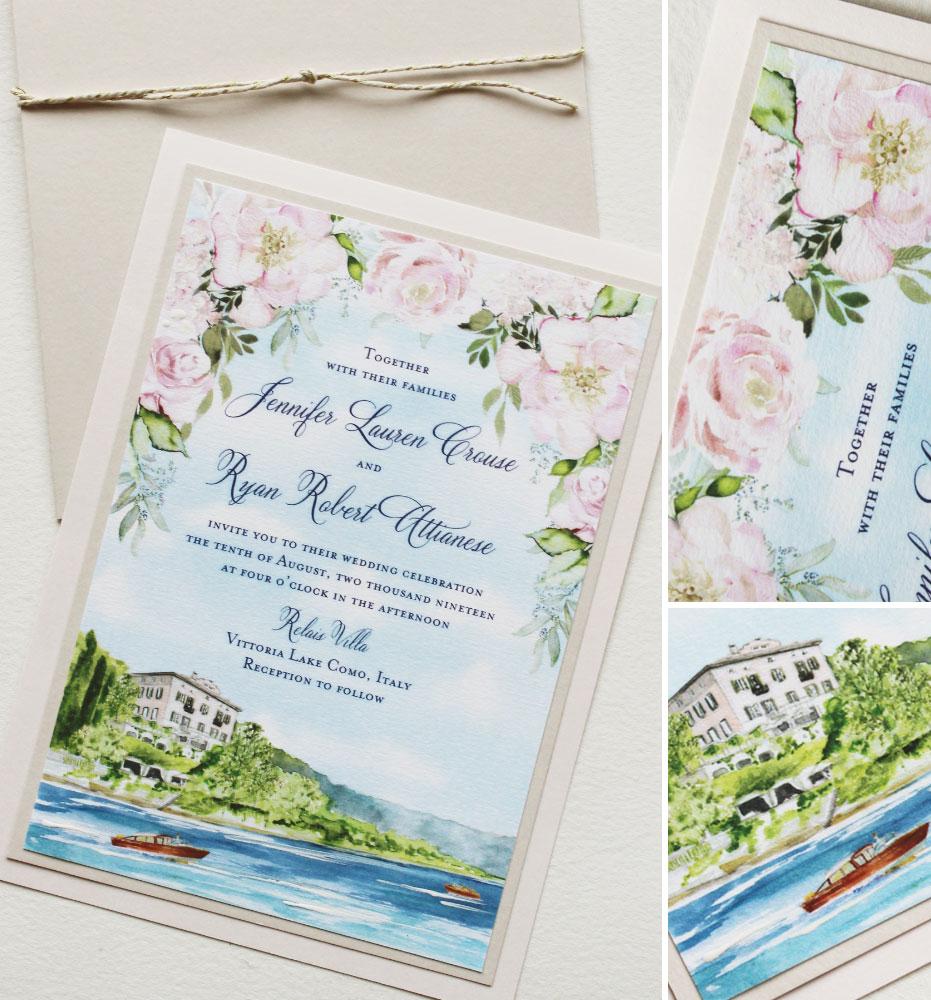 Relais Villa Lake Como Landscape Wedding Invitation