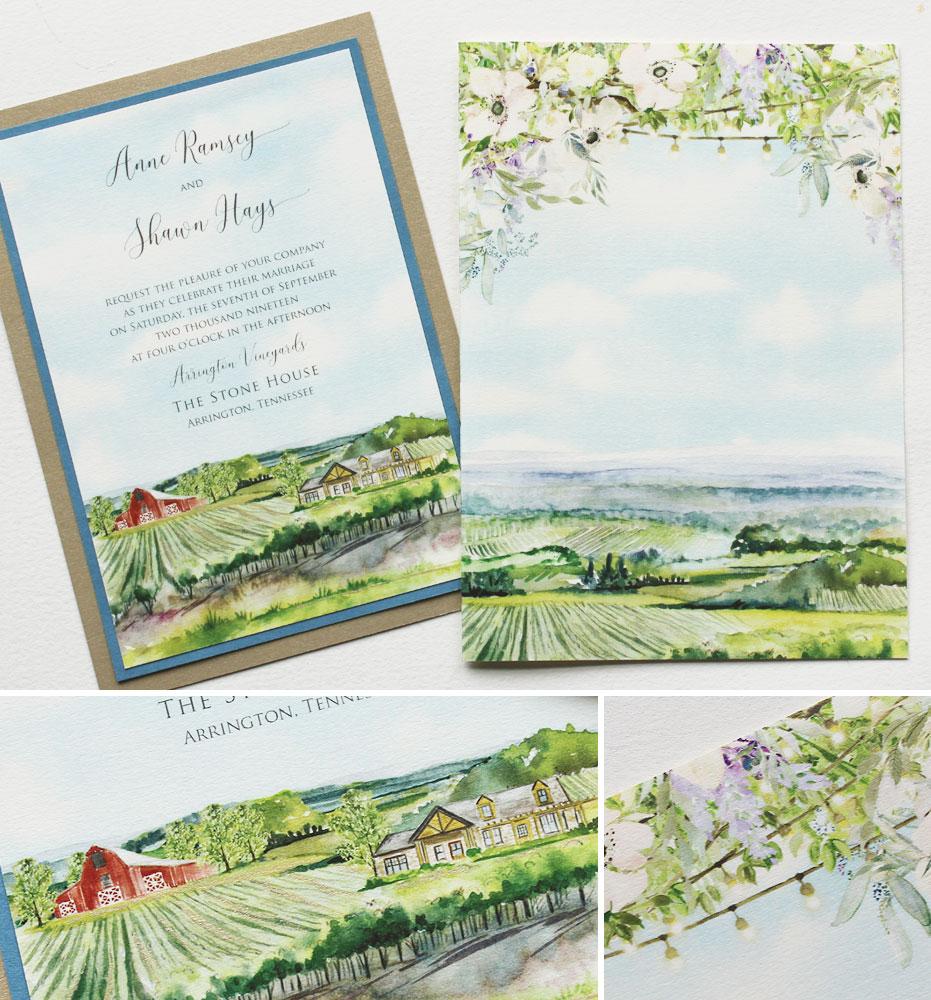 Watercolor Farm Landscape Wedding Invitations