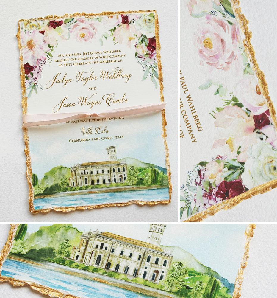 Watercolor Floral Lake Como Wedding Invitations