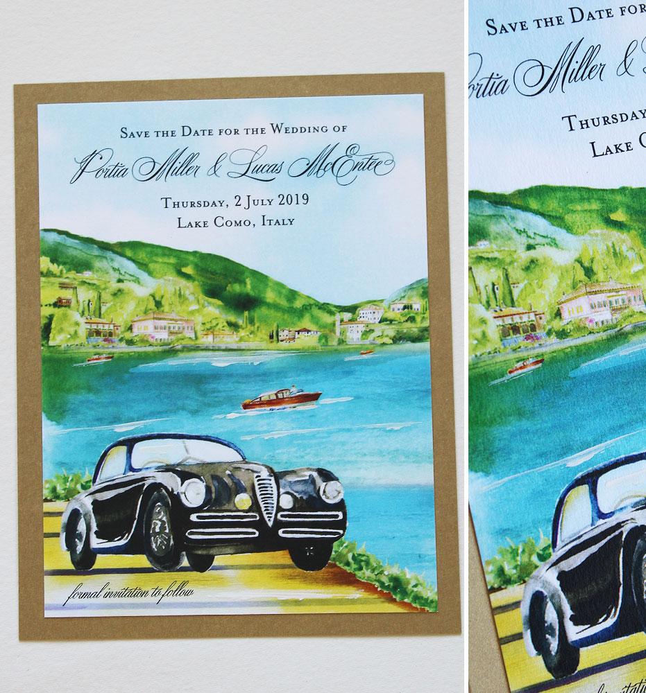 Watercolor Lake Como Wedding Save the Dates