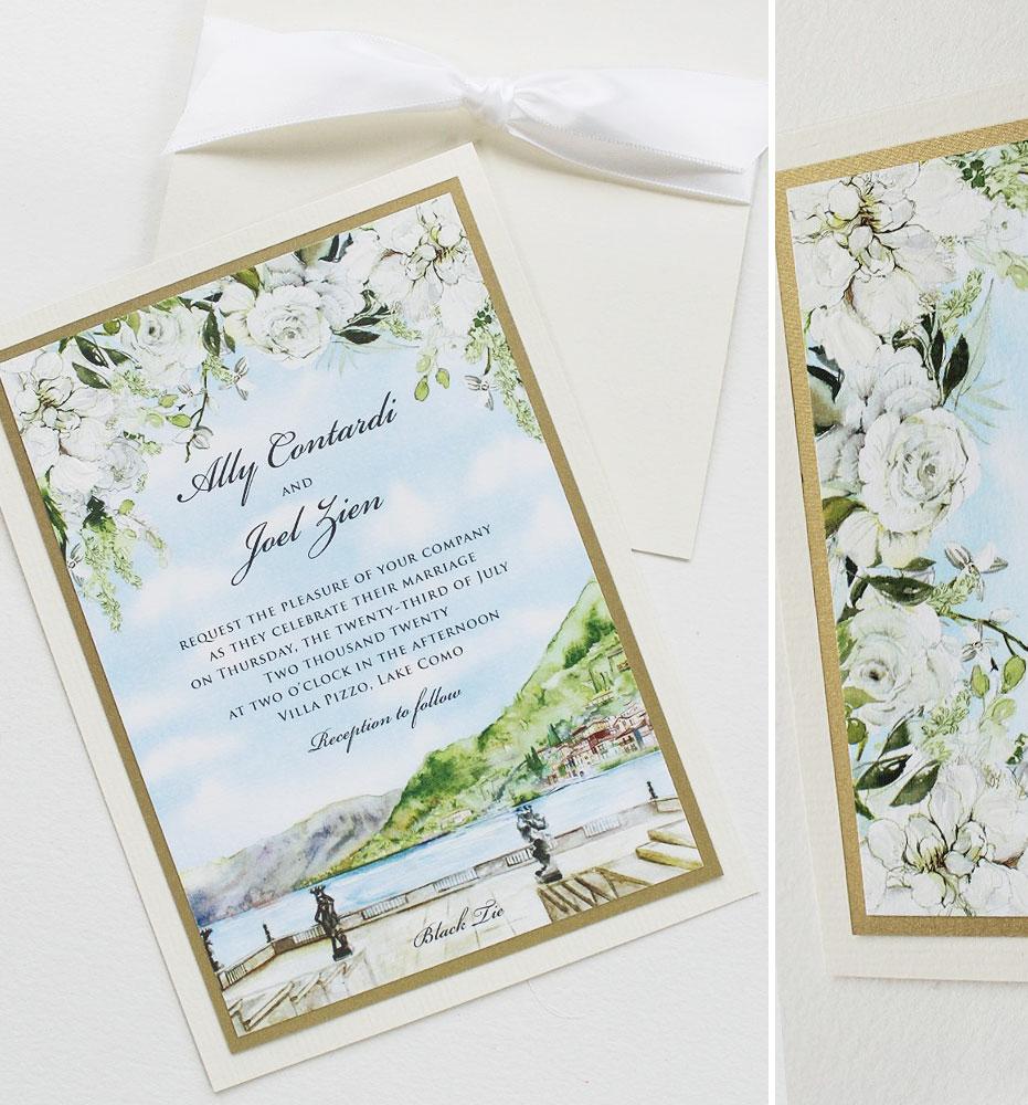 Watercolor Landscape Italy Wedding Invitations
