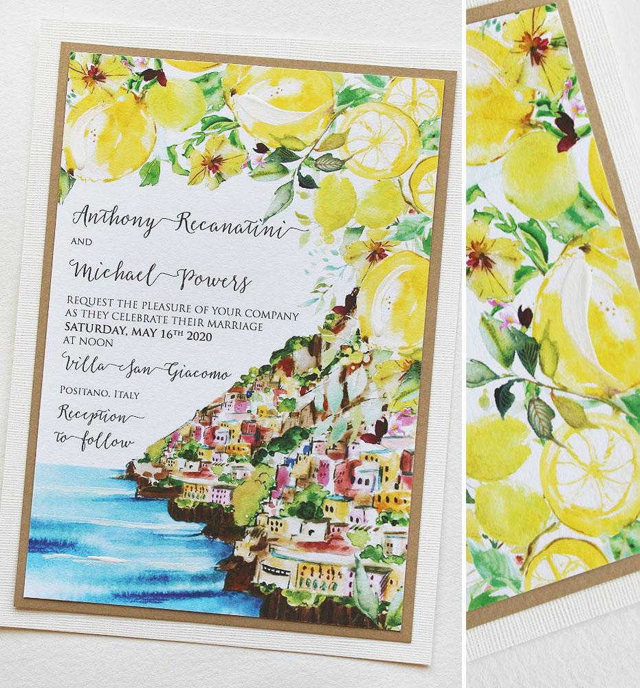 Watercolor Lemon Positano Wedding Invitations