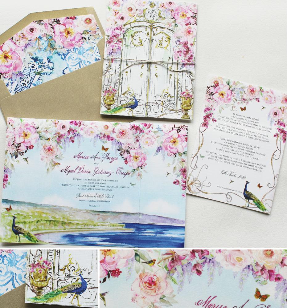 Watercolor Peony Wedding Invitations