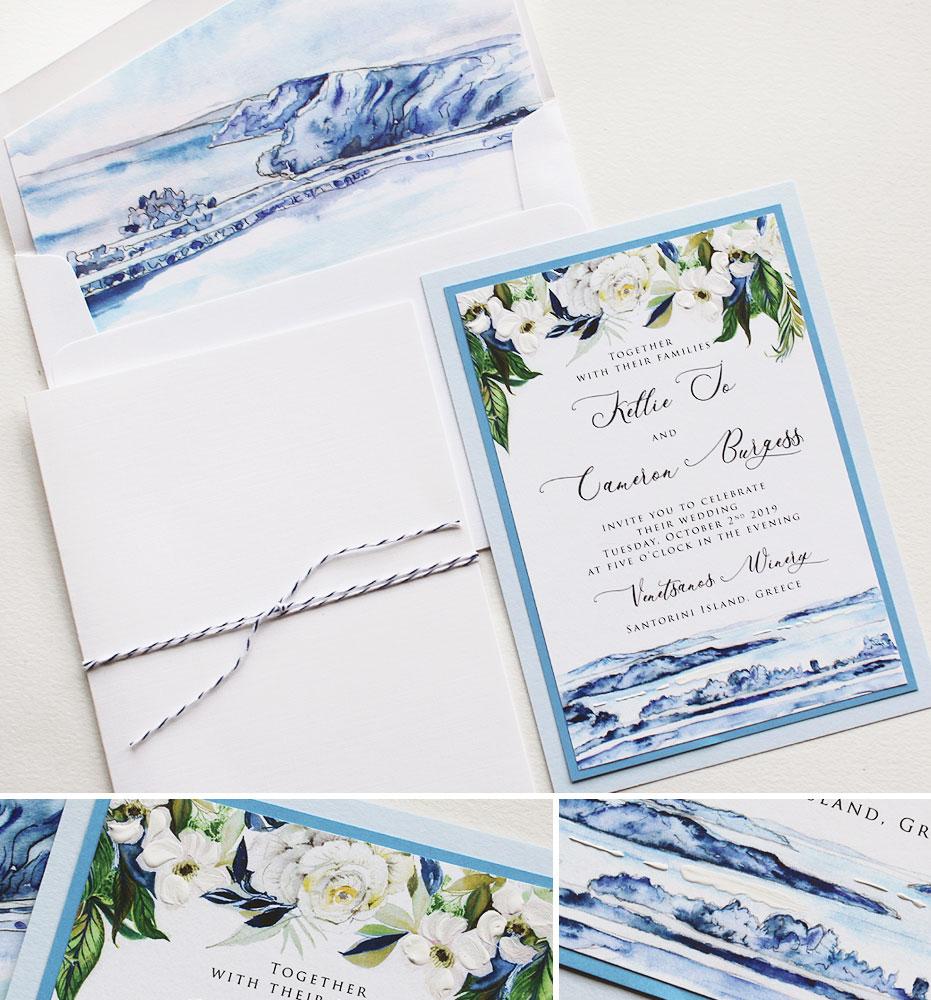 Watercolor Santorini Greece Wedding Invitations