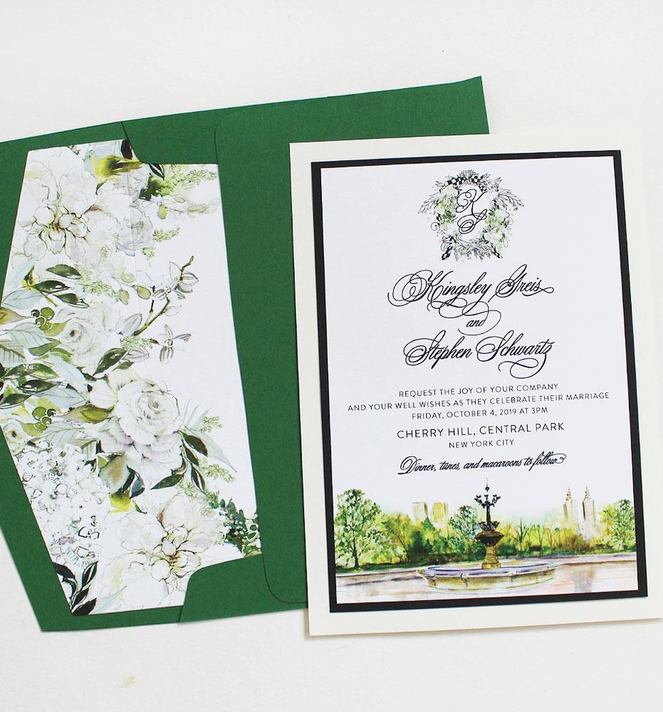 Floral Monogram and Landscape Wedding Invitations
