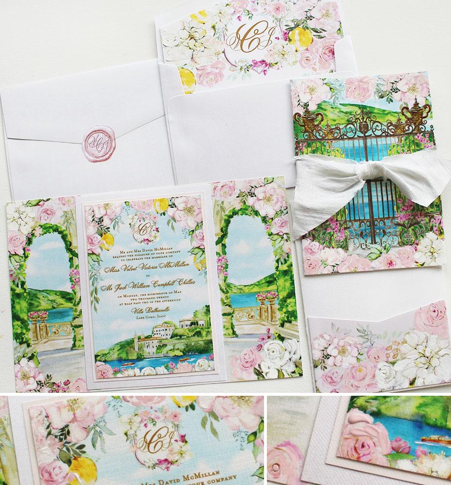 Villa Balbienello Lake Como Wedding Invitations