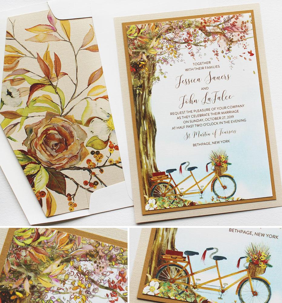 Watercolor Autumn Tree Wedding Invitations