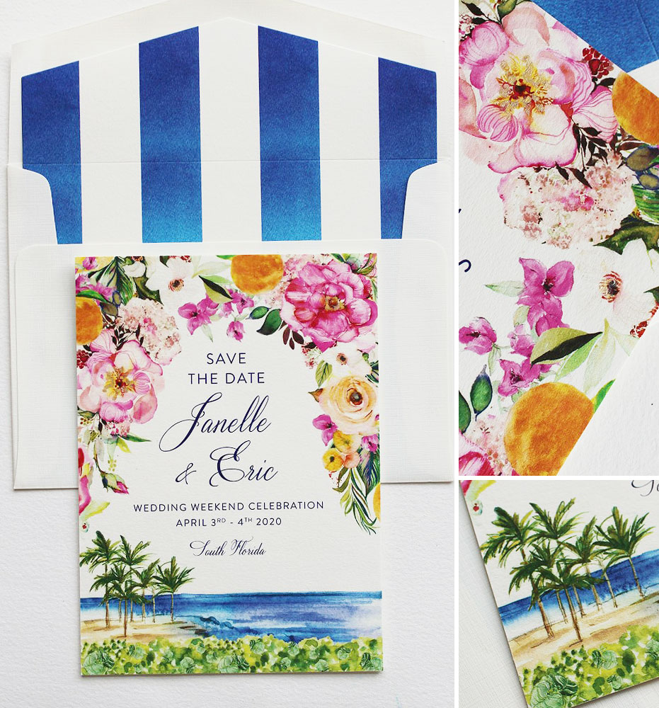Watercolor Floral Beach Wedding Stationery