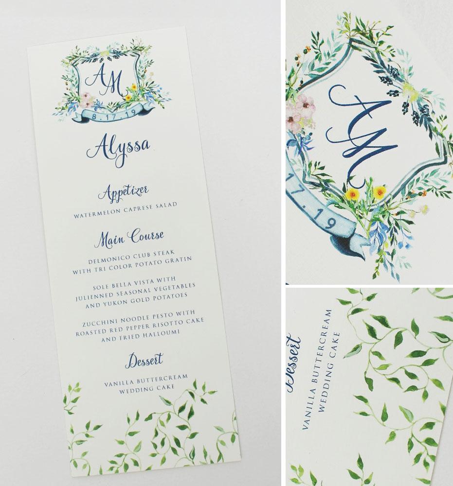 Watercolor Monogram Wedding Menus