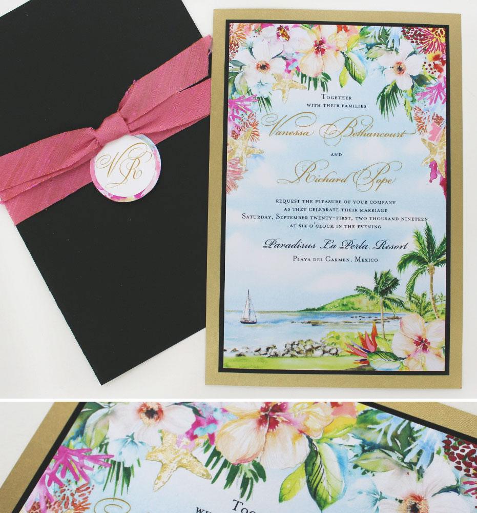 Watercolor Tropical Beach Wedding Invitations