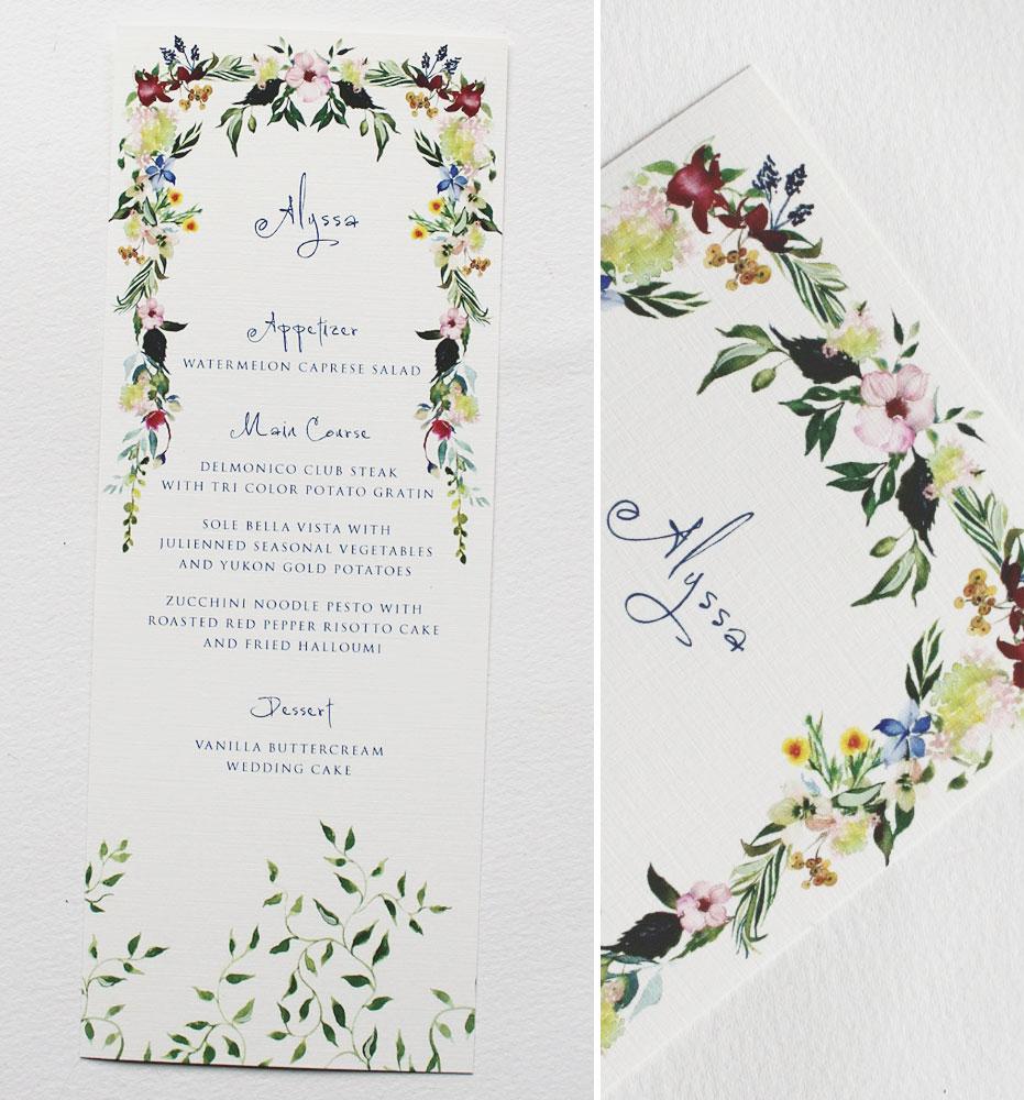 Botanical Wreath Wedding Menu